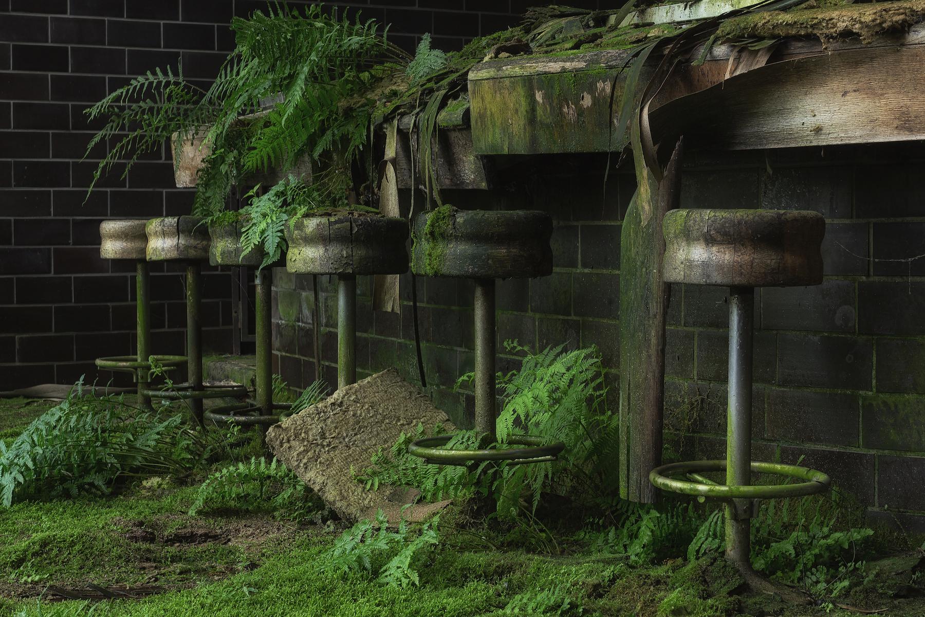 Taburetes de bar entre plantas en lugares abandonados por Stefan Baumann