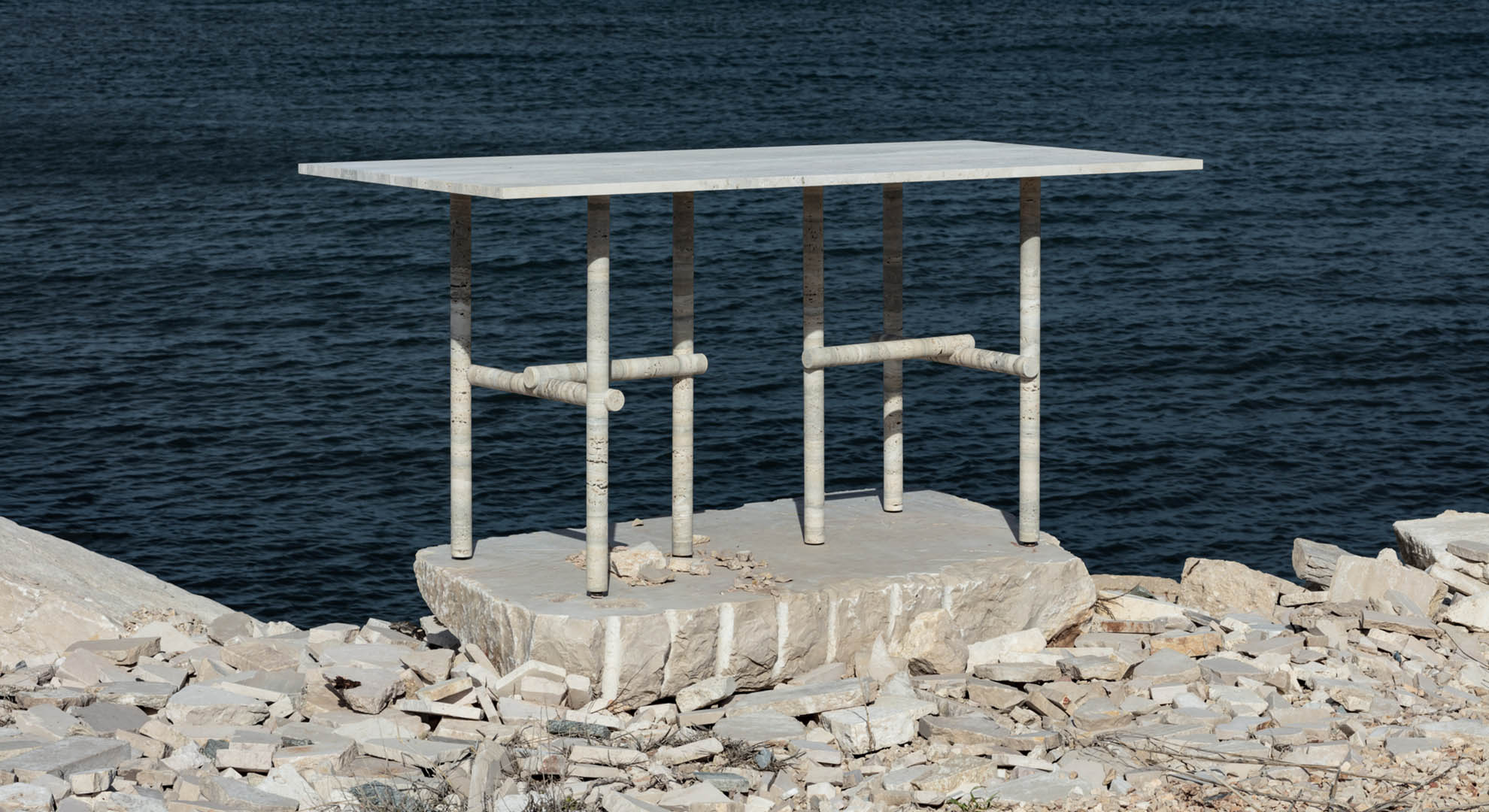 Ocean artwork. Travertine table by Clément Brazille