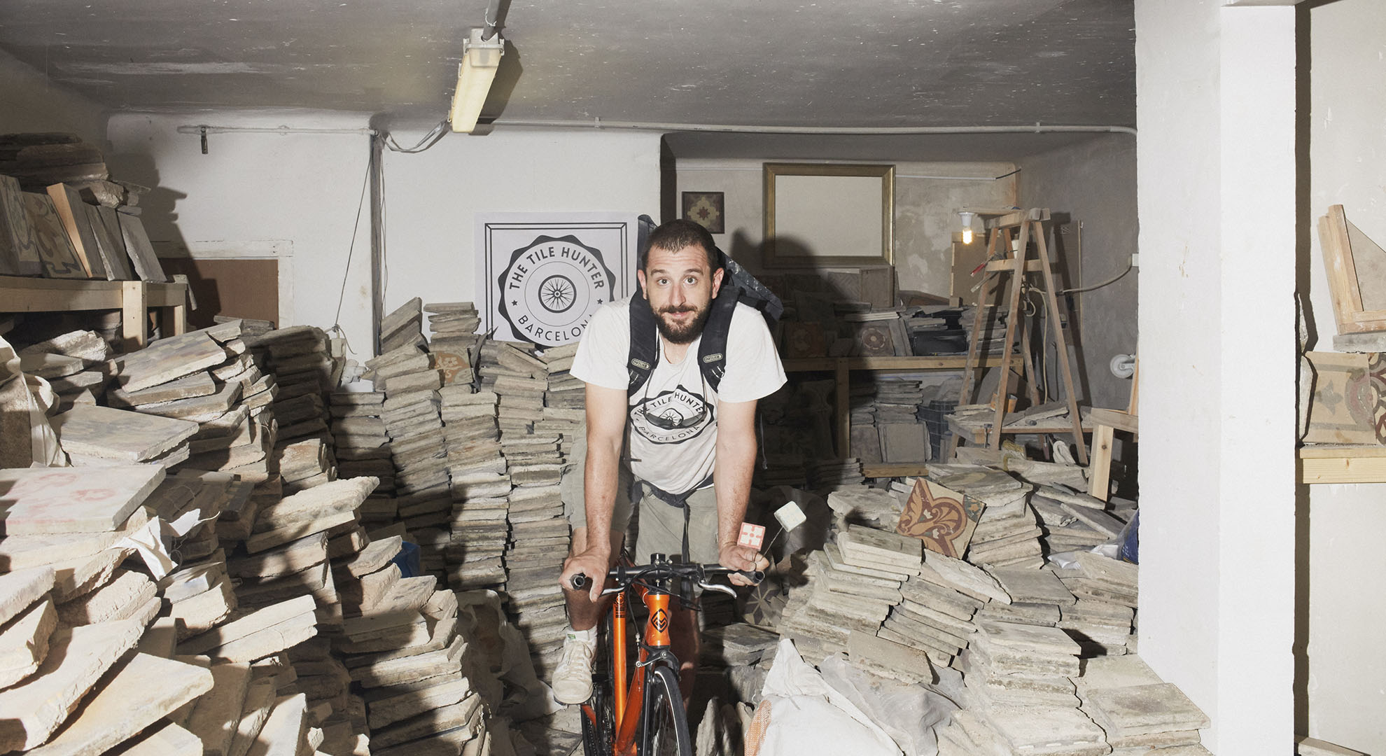 Joel Canovas surrounded by hydraulic tiles