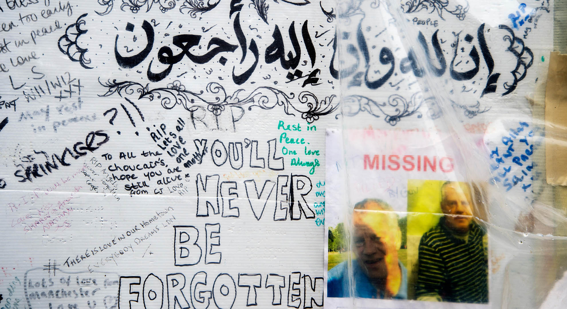 Memorial at the Grenfell Tower site