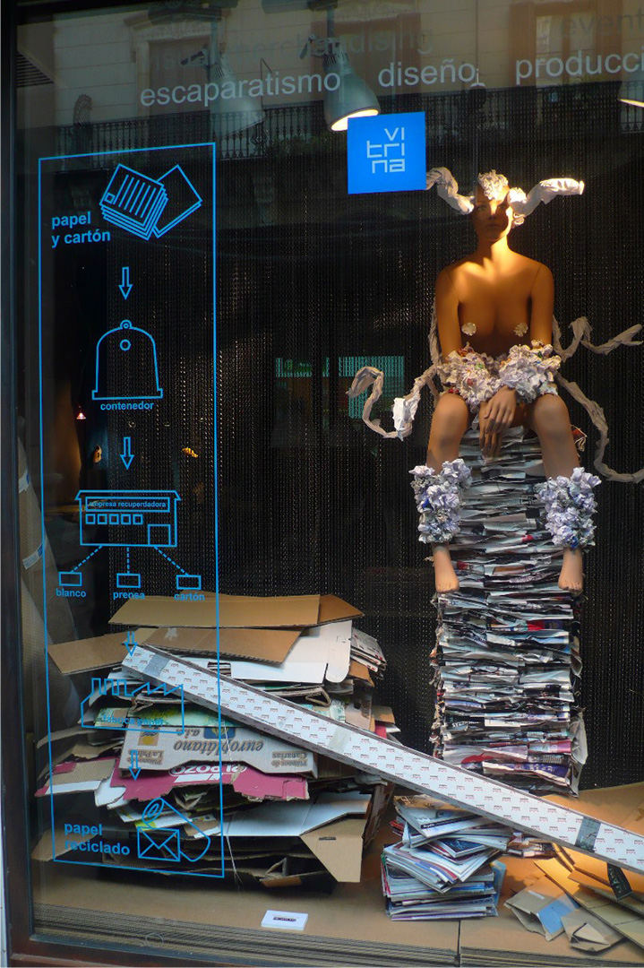 Visual merchandising in a window display in Barcelona