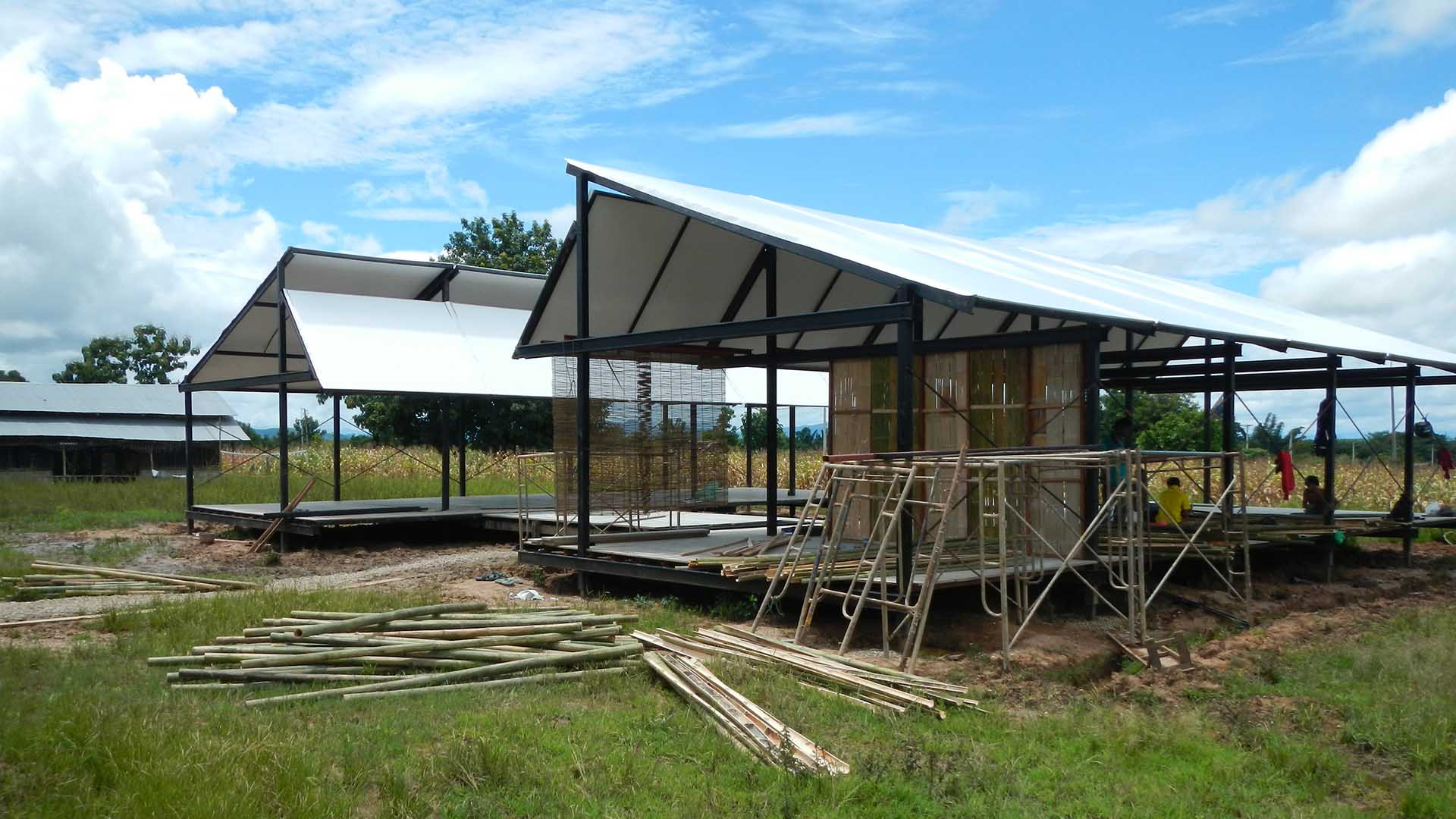 Moving School's modular building is comprised of a skeletal steel frame and bamboo wall panels