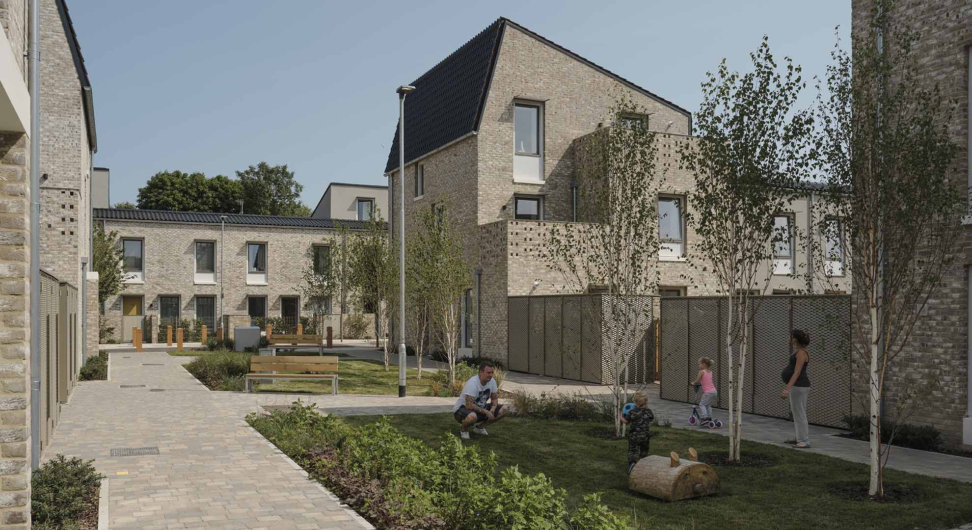 Goldsmith Street social housing, Norwich, UK, Mikhail Riches with Cathy Hawley.