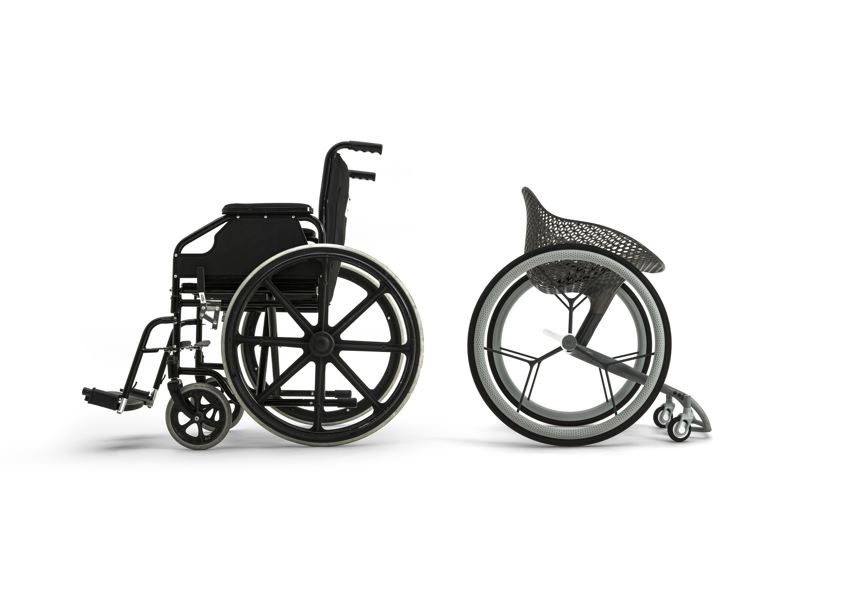 Go Wheelchair by Benjamin Hubert/Layer is a customisable seat shell that helps elderly people in reducing pressure points, and avoiding pain or injury.