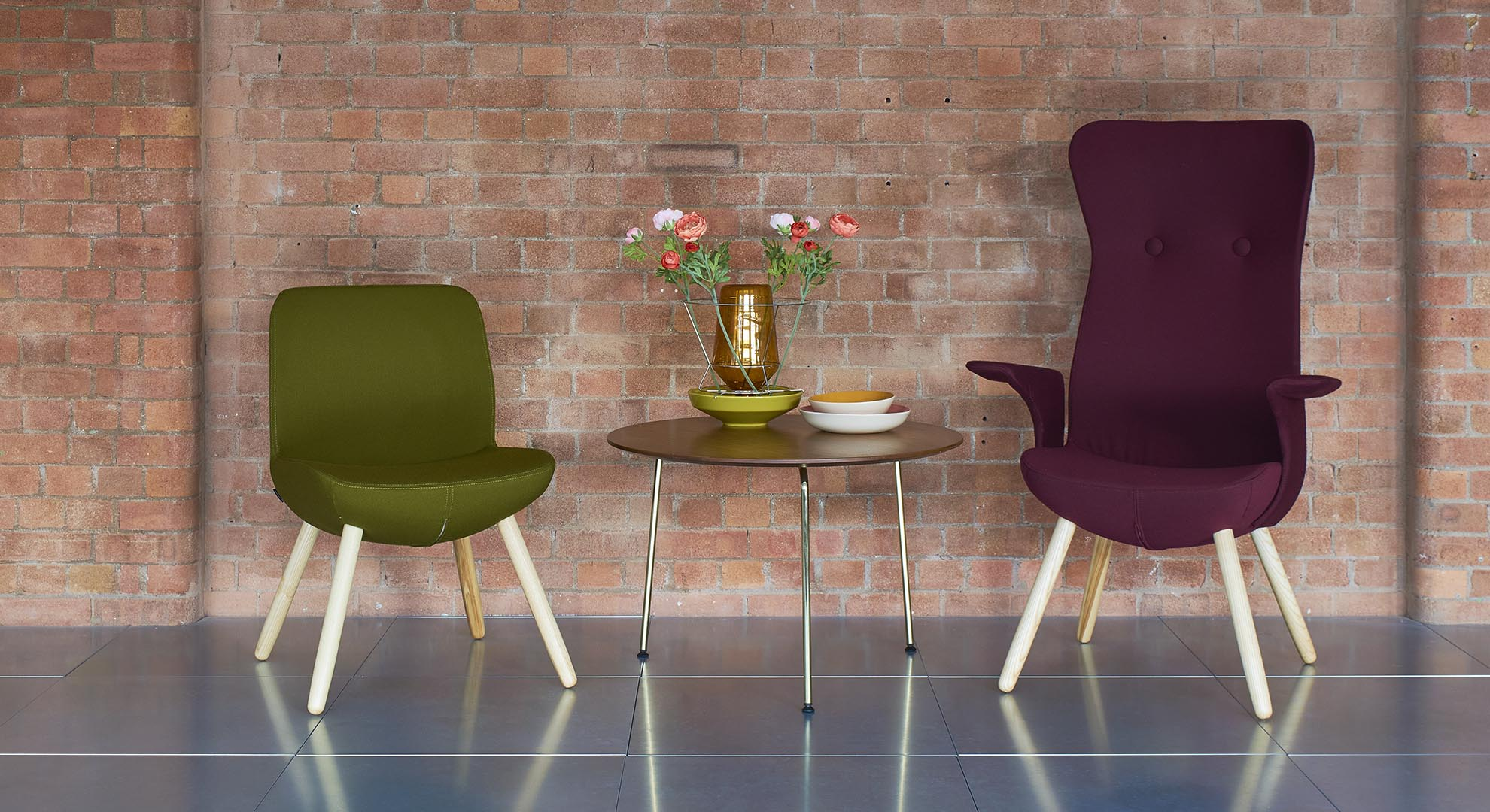 Age neutral high back armchairs