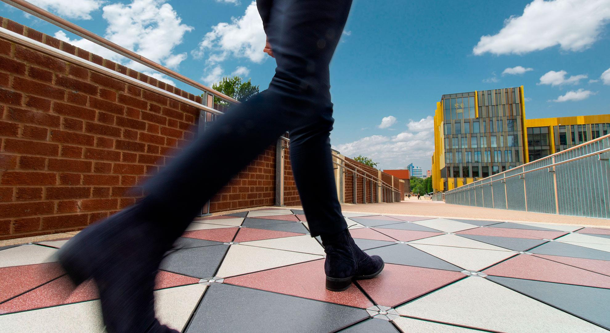 Pavegen tiles in an urban city setting.