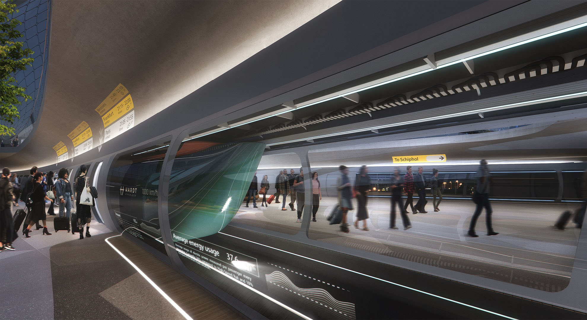 Hardt Hyperloop Platform, Schiphol Airport. UNStudio (station design), Plomopmozes (visualization)