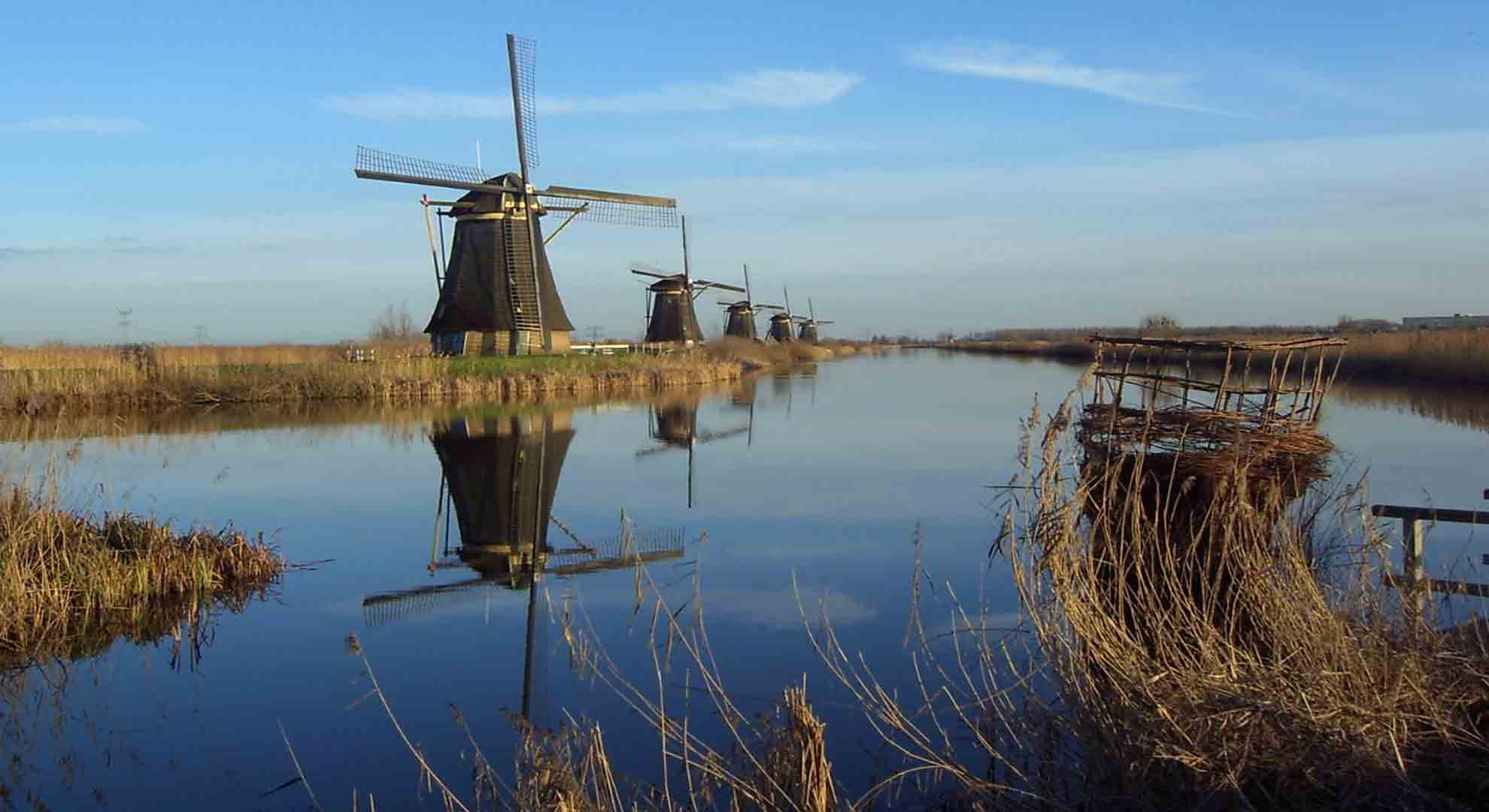 A typical windmill in the Netherlands: another example of a postindustrial building.