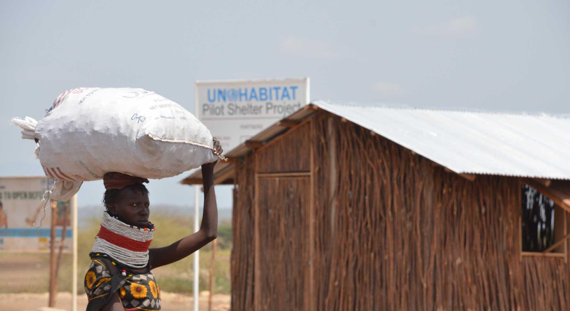 Pilot houses by Shigeru Ban for a new settlement in Kenya.