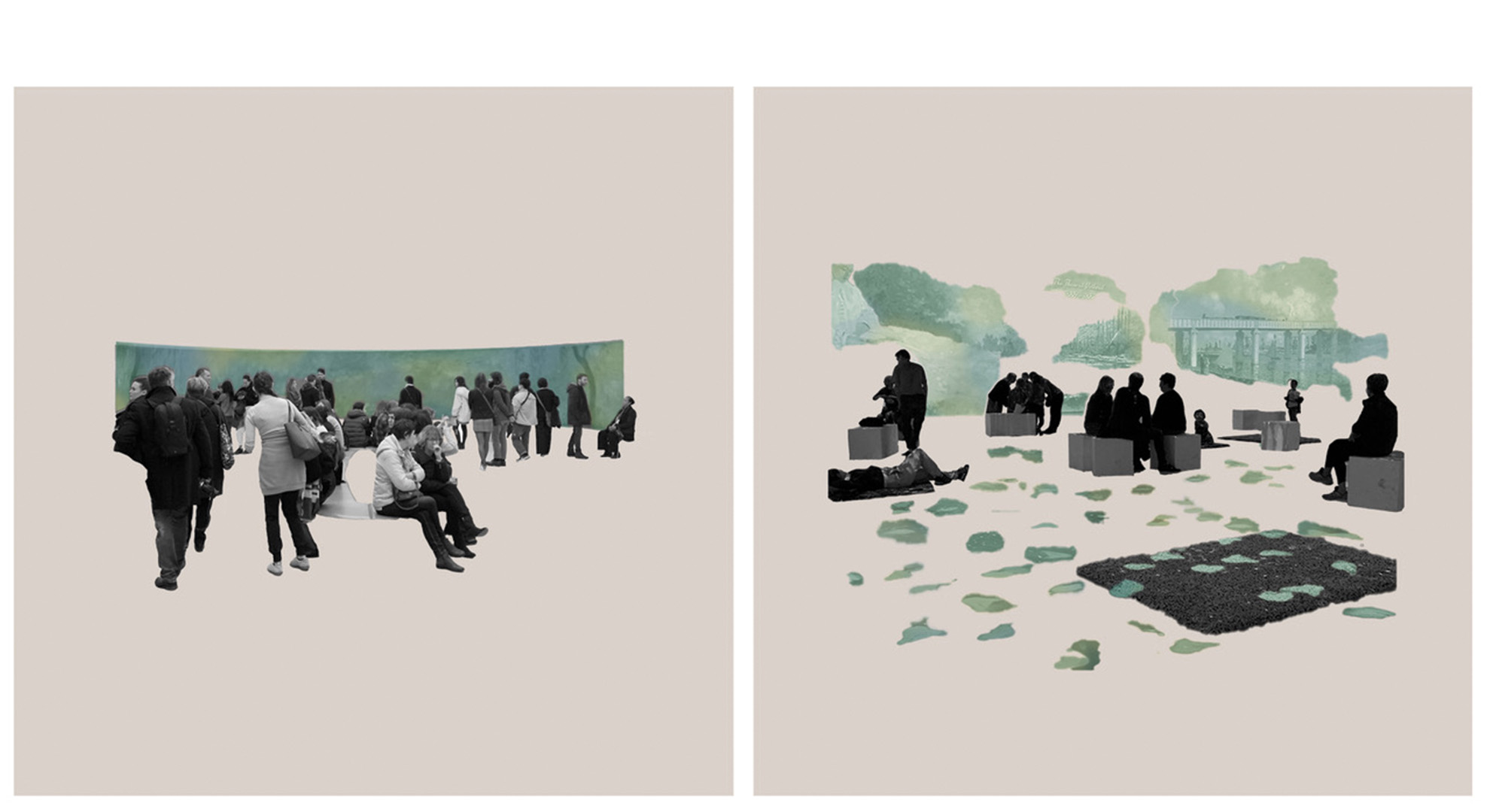 Traditional exhibition design versus digital experience of the same artwork.