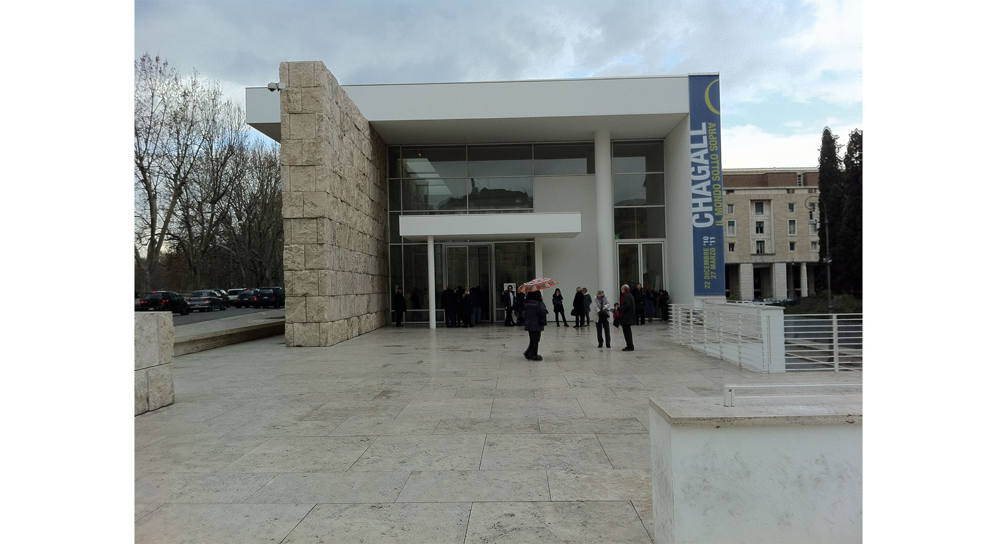 Main entrance of Ara Pacis Museum in Rome.